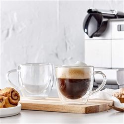 Barista Collection Cappuccino Borosilicate Glass 2pc with handle